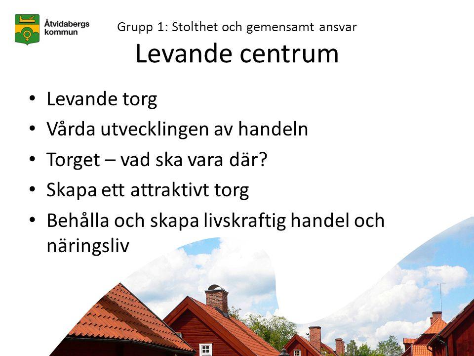 Grupp 1: Stolthet och gemensamt ansvar Levande centrum • Levande torg • Vårda utvecklingen av handeln • Torget – vad ska vara där.