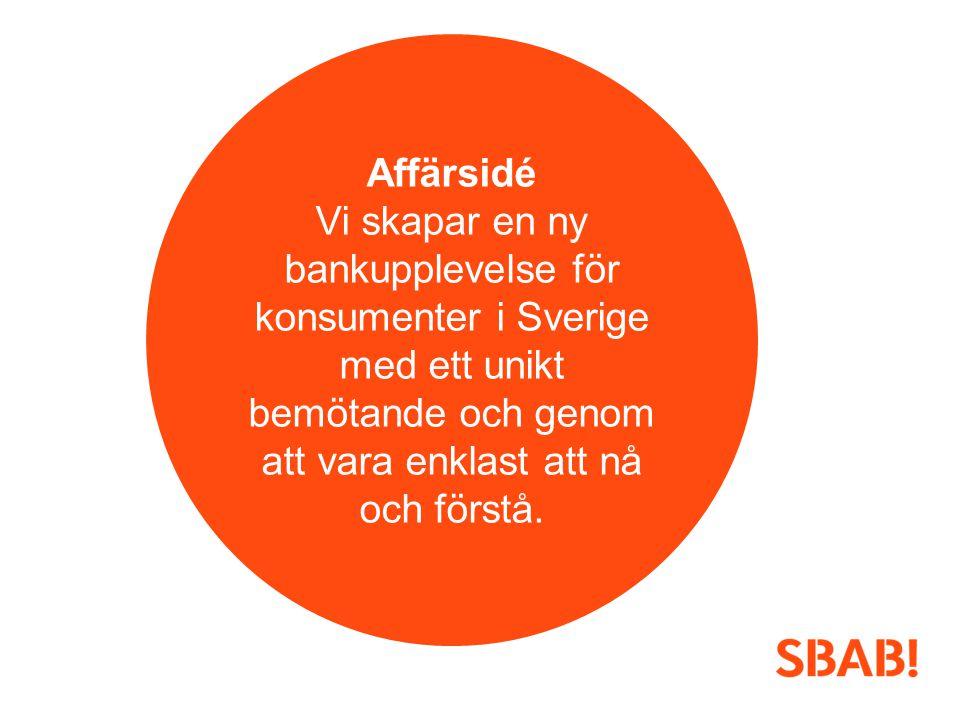 Affärsidé Vi skapar en ny bankupplevelse för konsumenter i Sverige med ett unikt bemötande och genom att vara enklast att nå och förstå.