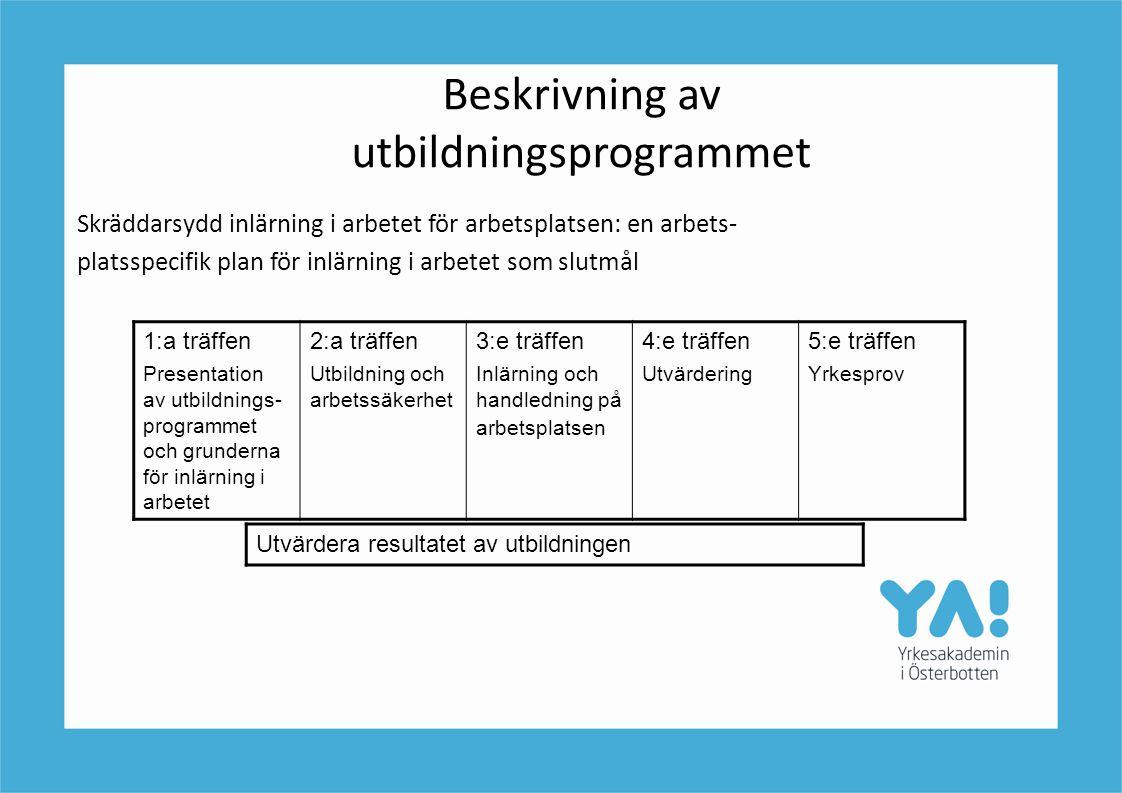 Beskrivning av utbildningsprogrammet Skräddarsydd inlärning i arbetet för arbetsplatsen: en arbets- platsspecifik plan för inlärning i arbetet som slu