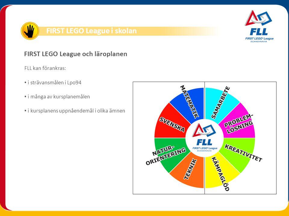 FIRST LEGO League och läroplanen FLL kan förankras: • i strävansmålen i Lpo94 • i många av kursplanemålen • i kursplanens uppnåendemål i olika ämnen F