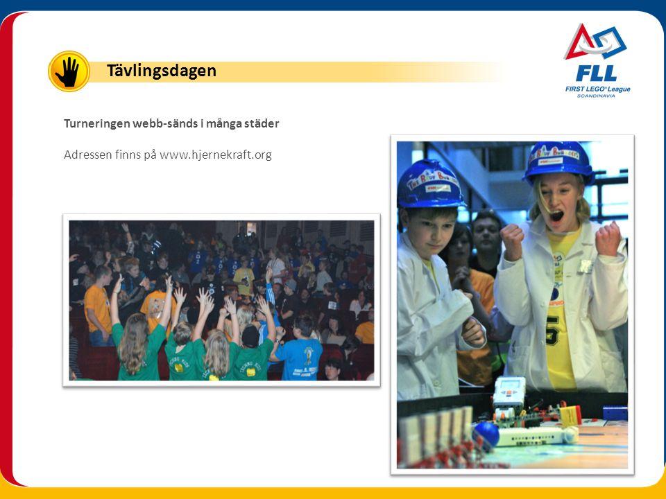 Turneringen webb-sänds i många städer Adressen finns på www.hjernekraft.org Tävlingsdagen