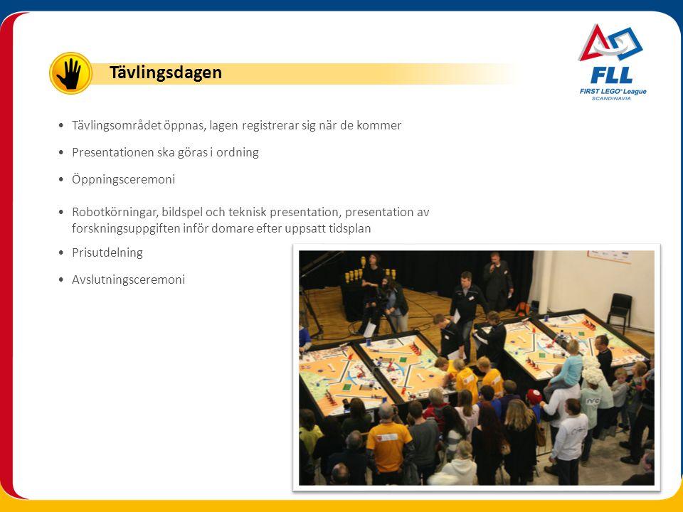•Tävlingsområdet öppnas, lagen registrerar sig när de kommer •Presentationen ska göras i ordning •Öppningsceremoni •Robotkörningar, bildspel och tekni