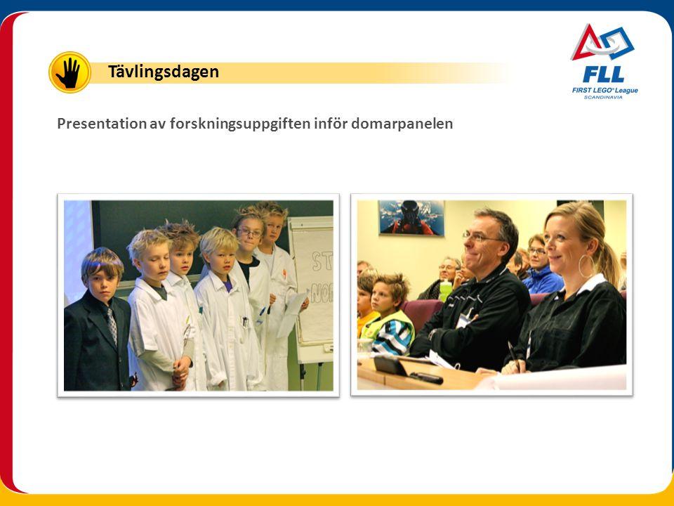 Presentation av forskningsuppgiften inför domarpanelen Tävlingsdagen