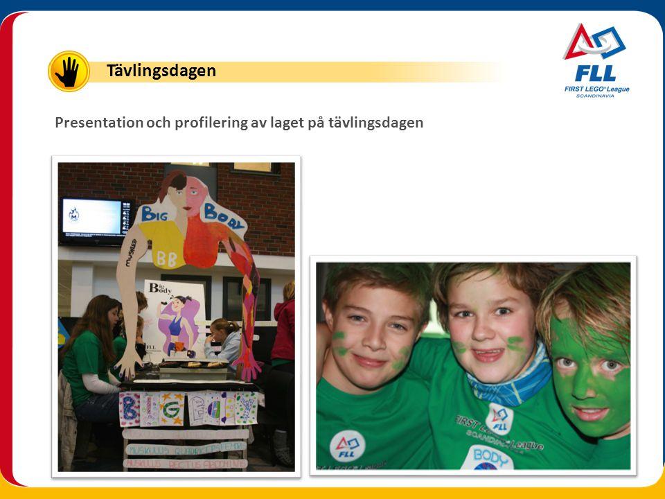 Presentation och profilering av laget på tävlingsdagen Tävlingsdagen