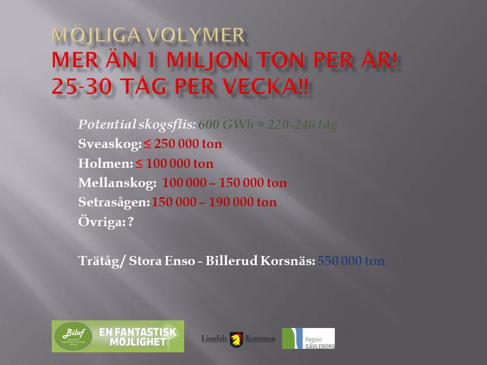 Potential skogsflis: 600 GWh ≈ 220-240 tåg Sveaskog: ≤ 250 000 ton Holmen: ≤ 100 000 ton Mellanskog: 100 000 – 150 000 ton Setrasågen: 150 000 – 190 0