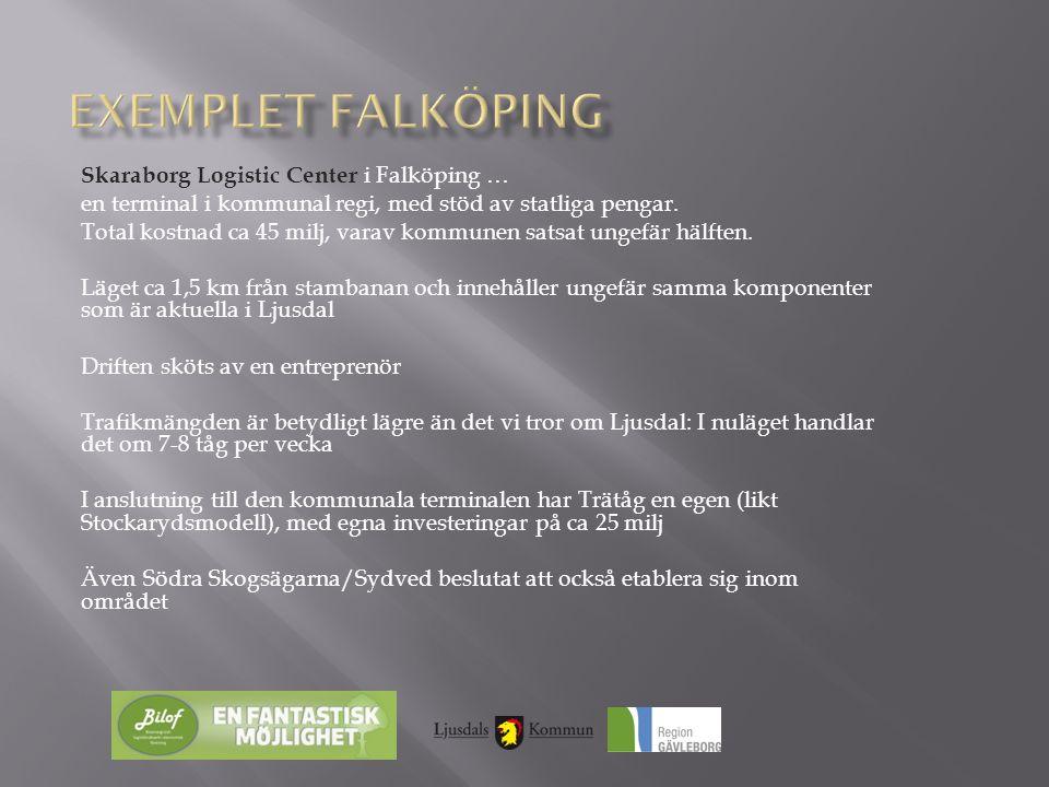 Skaraborg Logistic Center i Falköping … en terminal i kommunal regi, med stöd av statliga pengar. Total kostnad ca 45 milj, varav kommunen satsat unge
