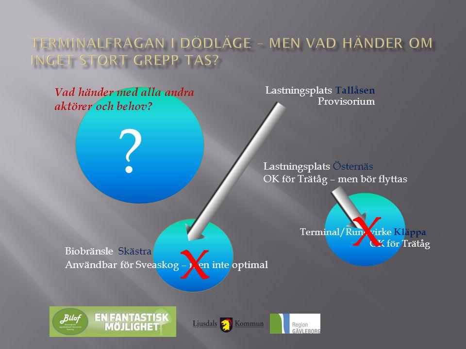 Lastningsplats Tallåsen Provisorium Lastningsplats Östernäs OK för Trätåg – men bör flyttas Biobränsle Skästra Användbar för Sveaskog – men inte optim