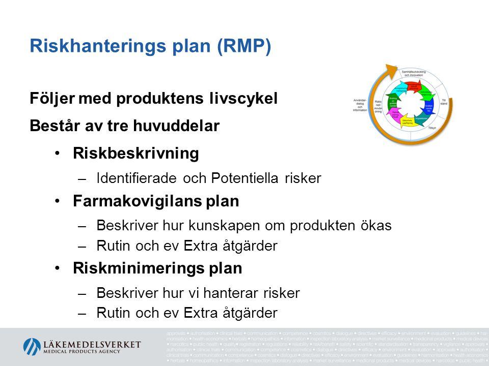 Riskhanterings plan (RMP) Följer med produktens livscykel Består av tre huvuddelar •Riskbeskrivning –Identifierade och Potentiella risker •Farmakovigi