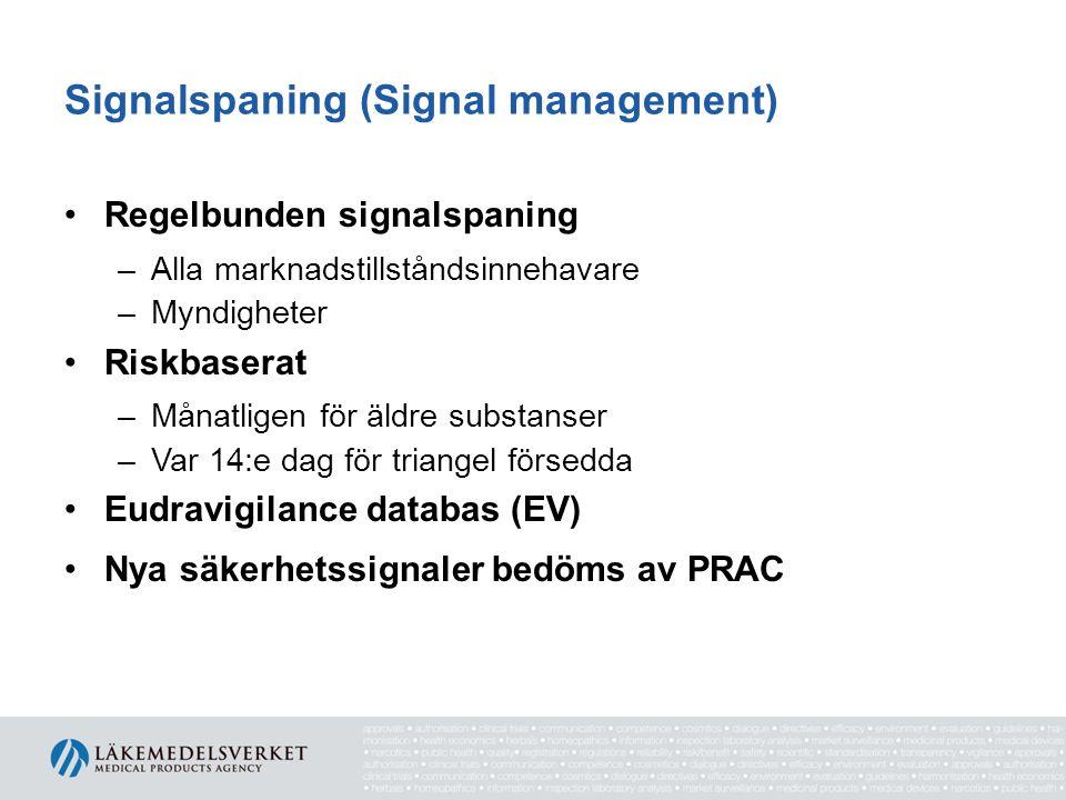 Signalspaning (Signal management) •Regelbunden signalspaning –Alla marknadstillståndsinnehavare –Myndigheter •Riskbaserat –Månatligen för äldre substa