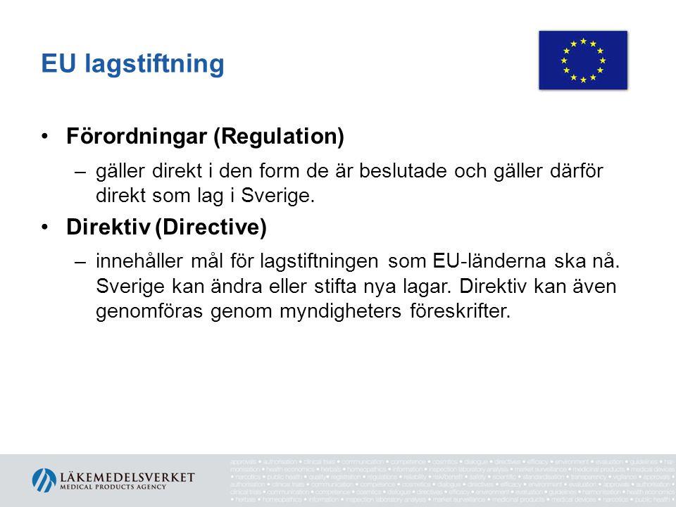 EU lagstiftning •Förordningar (Regulation) –gäller direkt i den form de är beslutade och gäller därför direkt som lag i Sverige. •Direktiv (Directive)