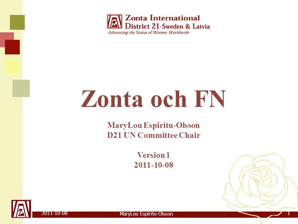 MaryLou Espiritu-Olsson 2011-10-082 Zonta och FN  Historik  ZI FN-kommittén  FN:s struktur