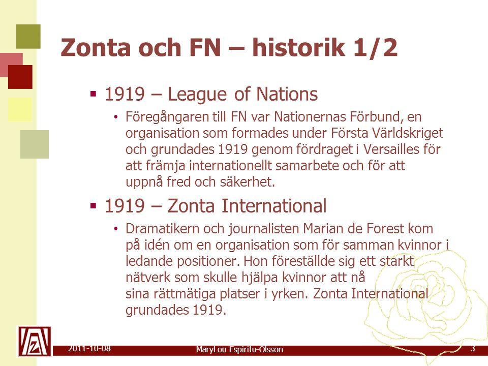 MaryLou Espiritu-Olsson 2011-10-083 Zonta och FN – historik 1/2  1919 – League of Nations • Föregångaren till FN var Nationernas Förbund, en organisation som formades under Första Världskriget och grundades 1919 genom fördraget i Versailles för att främja internationellt samarbete och för att uppnå fred och säkerhet.
