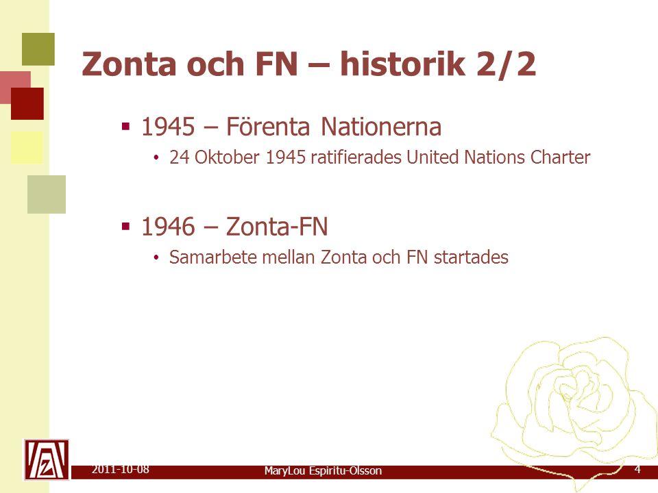 MaryLou Espiritu-Olsson 2011-10-084 Zonta och FN – historik 2/2  1945 – Förenta Nationerna • 24 Oktober 1945 ratifierades United Nations Charter  1946 – Zonta-FN • Samarbete mellan Zonta och FN startades