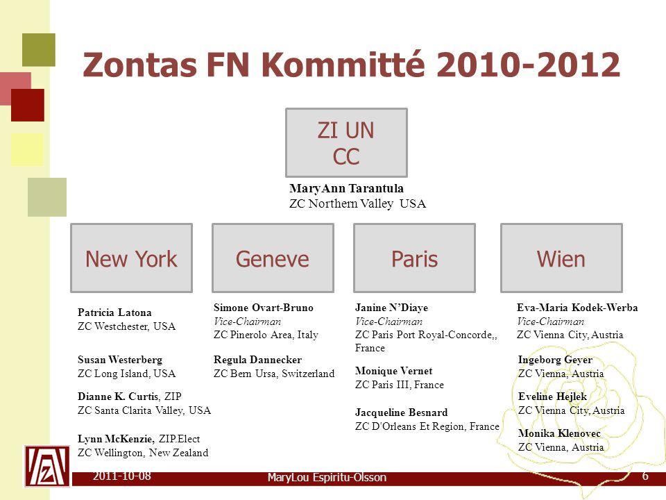 MaryLou Espiritu-Olsson 2011-10-0817 FN-relaterad  Conference on non-governmental Organization in Consultative Relationship with the United Nations (CoNGO)  Beijing Deklarationen från Fjärde Världskonferens om Kvinnor  Millenium Development Goals