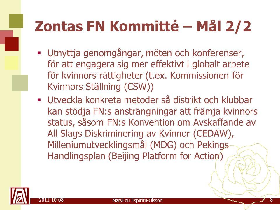 MaryLou Espiritu-Olsson 2011-10-088 Zontas FN Kommitté – Mål 2/2  Utnyttja genomgångar, möten och konferenser, för att engagera sig mer effektivt i globalt arbete för kvinnors rättigheter (t.ex.