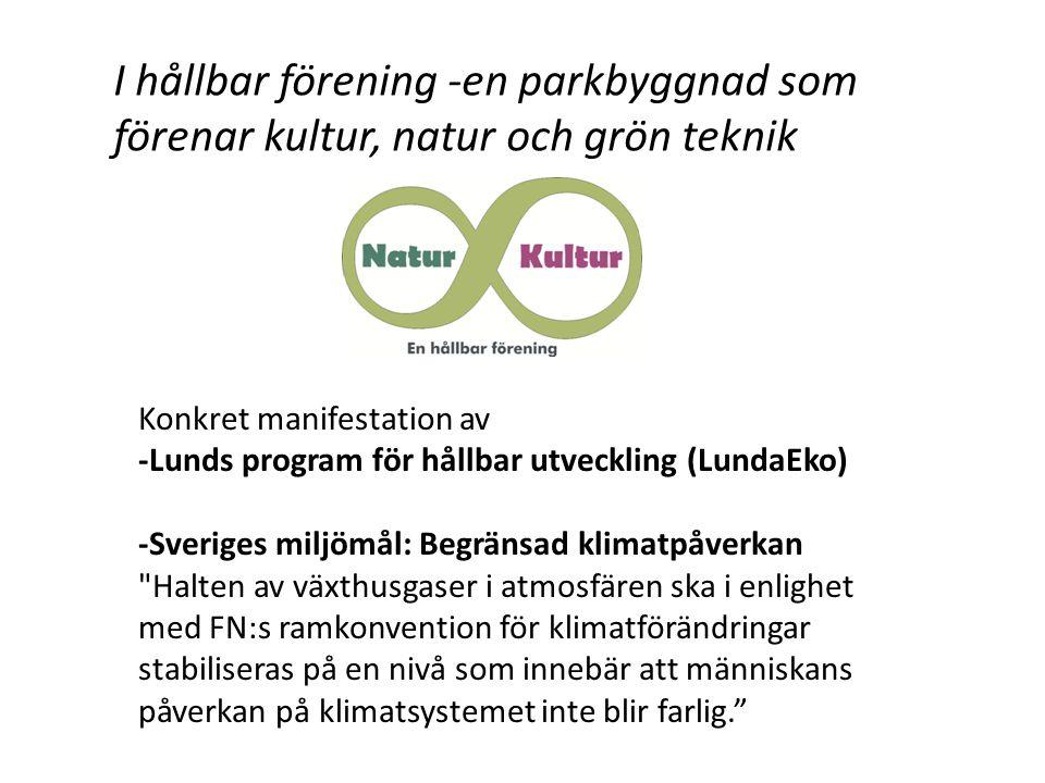 I hållbar förening -en parkbyggnad som förenar kultur, natur och grön teknik Konkret manifestation av -Lunds program för hållbar utveckling (LundaEko) -Sveriges miljömål: Begränsad klimatpåverkan Halten av växthusgaser i atmosfären ska i enlighet med FN:s ramkonvention för klimatförändringar stabiliseras på en nivå som innebär att människans påverkan på klimatsystemet inte blir farlig.
