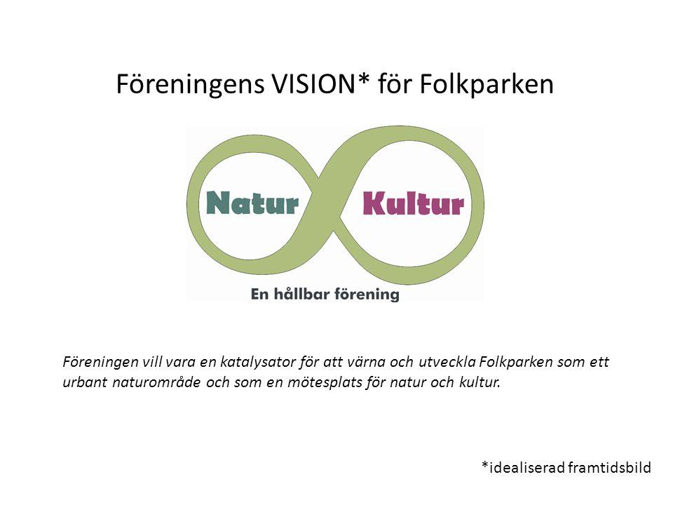Föreningens VISION* för Folkparken *idealiserad framtidsbild Föreningen vill vara en katalysator för att värna och utveckla Folkparken som ett urbant naturområde och som en mötesplats för natur och kultur.