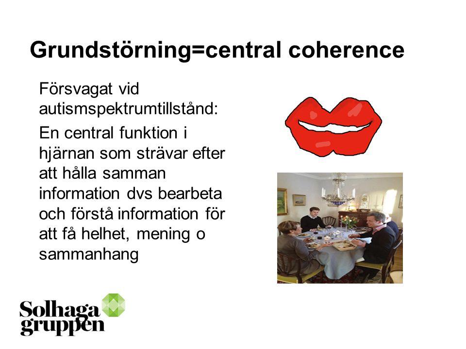 Grundstörning=central coherence Försvagat vid autismspektrumtillstånd: En central funktion i hjärnan som strävar efter att hålla samman information dv