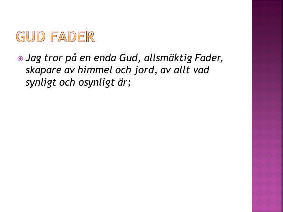  och på en enda Herre, Jesus Kristus, Guds enfödde Son, född av Fadern före all tid, (Gud av Gud,) ljus av ljus, sann Gud av sann Gud, född och icke skapad, av samma väsen som Fadern, på honom genom vilken allting är skapat;