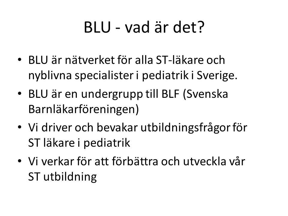 BLU - vad är det? • BLU är nätverket för alla ST-läkare och nyblivna specialister i pediatrik i Sverige. • BLU är en undergrupp till BLF (Svenska Barn