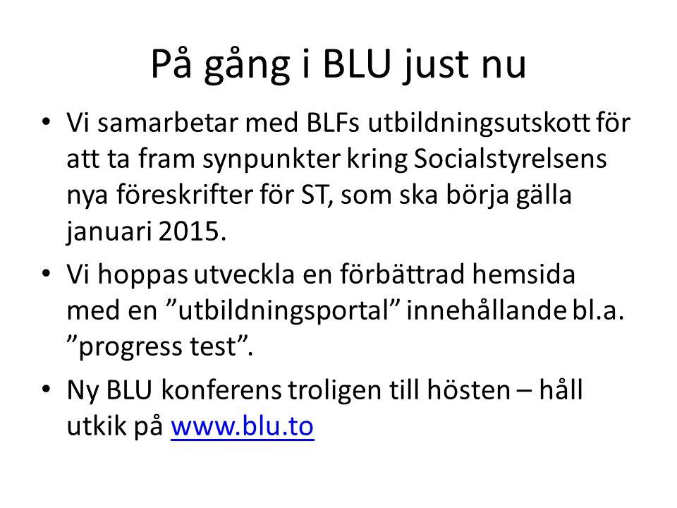 På gång i BLU just nu • Vi samarbetar med BLFs utbildningsutskott för att ta fram synpunkter kring Socialstyrelsens nya föreskrifter för ST, som ska b