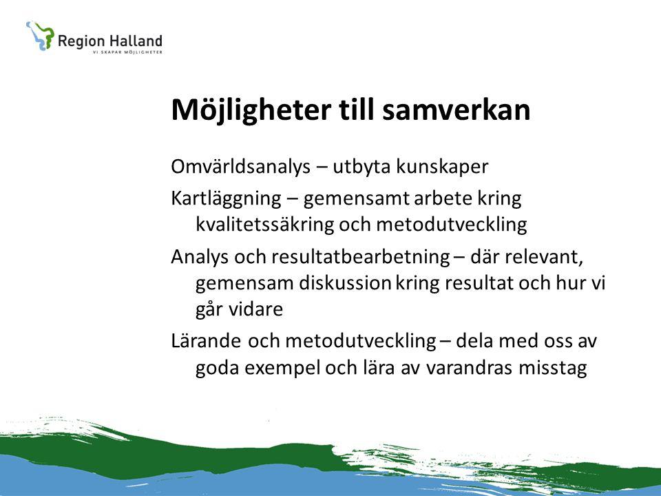 Möjligheter till samverkan Omvärldsanalys – utbyta kunskaper Kartläggning – gemensamt arbete kring kvalitetssäkring och metodutveckling Analys och res