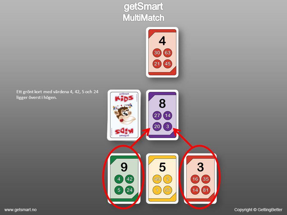 Ett grönt kort med värdena 4, 42, 5 och 24 ligger överst i högen.