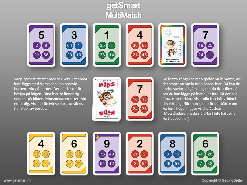 Korten ligger på bordet och du valde att lägga det gröna kortet med värdena 54, 18, 42 och 72 överst.