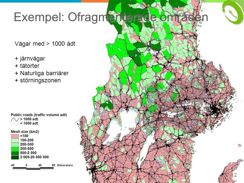 12 Exempel: Ofragmenterade områden Vägar med > 1000 ådt + järnvägar + tätorter + Naturliga barriärer + störningszonen