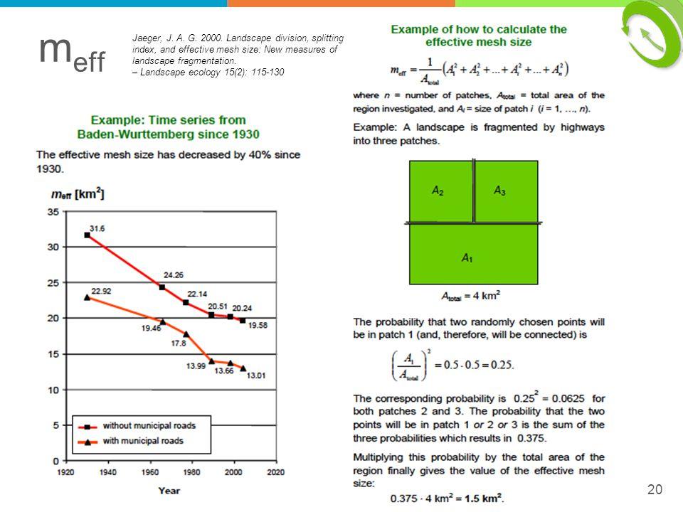m eff 20 Jaeger, J. A. G. 2000. Landscape division, splitting index, and effective mesh size: New measures of landscape fragmentation. – Landscape eco