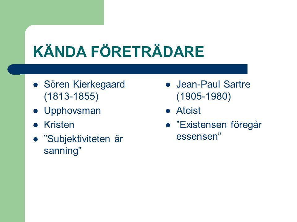 """KÄNDA FÖRETRÄDARE  Sören Kierkegaard (1813-1855)  Upphovsman  Kristen  """"Subjektiviteten är sanning""""  Jean-Paul Sartre (1905-1980)  Ateist  """"Exi"""