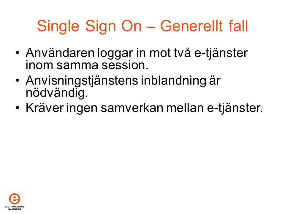 Single Sign On – Generellt fall •Användaren loggar in mot två e-tjänster inom samma session.