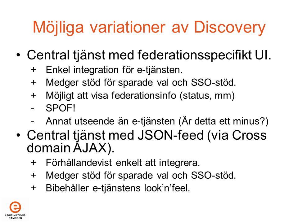 Möjliga variationer av Discovery •Central tjänst med federationsspecifikt UI.