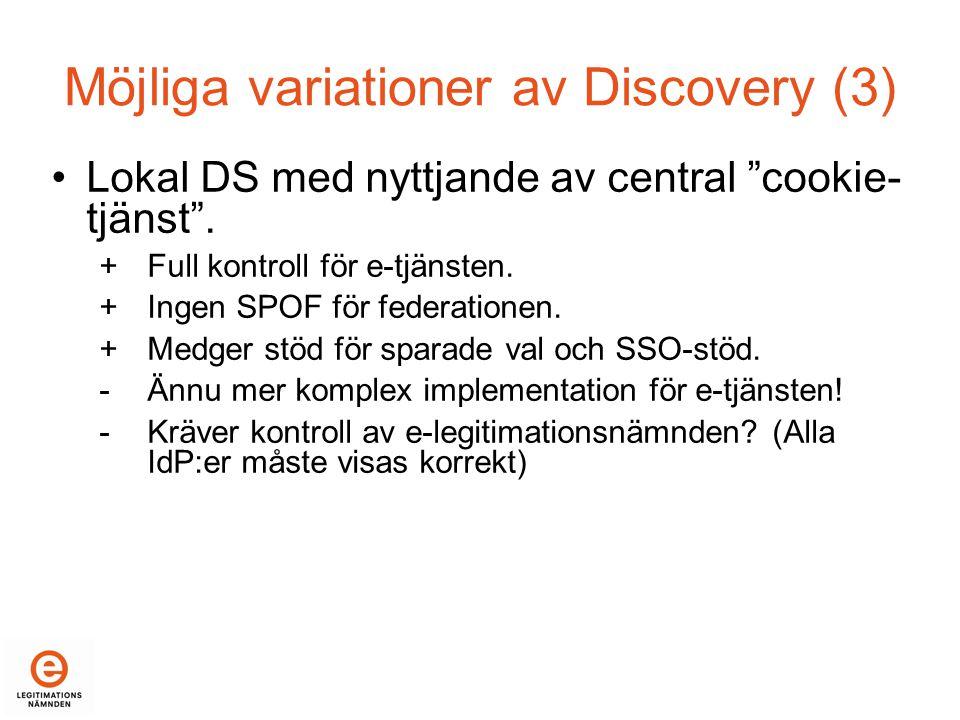 Möjliga variationer av Discovery (3) •Lokal DS med nyttjande av central cookie- tjänst .