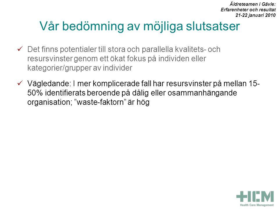 Vår bedömning av möjliga slutsatser  Det finns potentialer till stora och parallella kvalitets- och resursvinster genom ett ökat fokus på individen eller kategorier/grupper av individer  Vägledande: I mer komplicerade fall har resursvinster på mellan 15- 50% identifierats beroende på dålig eller osammanhängande organisation; waste-faktorn är hög Äldreteamen i Gävle: Erfarenheter och resultat 21-22 januari 2010