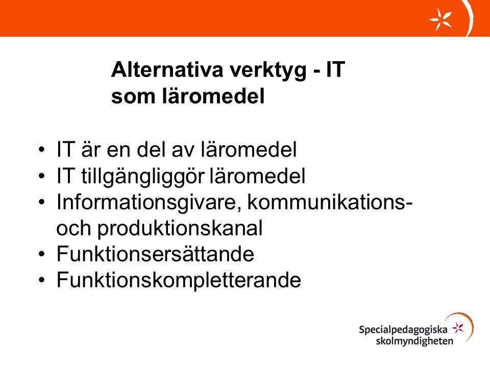 Alternativa verktyg - IT som läromedel •IT är en del av läromedel •IT tillgängliggör läromedel •Informationsgivare, kommunikations- och produktionskan