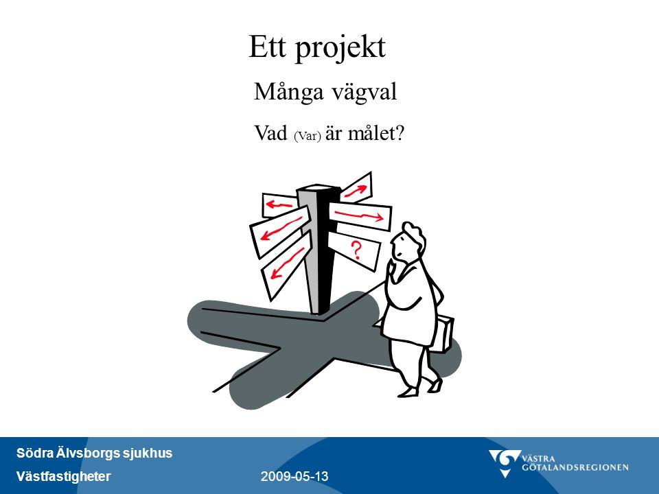 Södra Älvsborgs sjukhus Västfastigheter 2009-05-13 Ett projekt Många vägval Vad (Var) är målet?