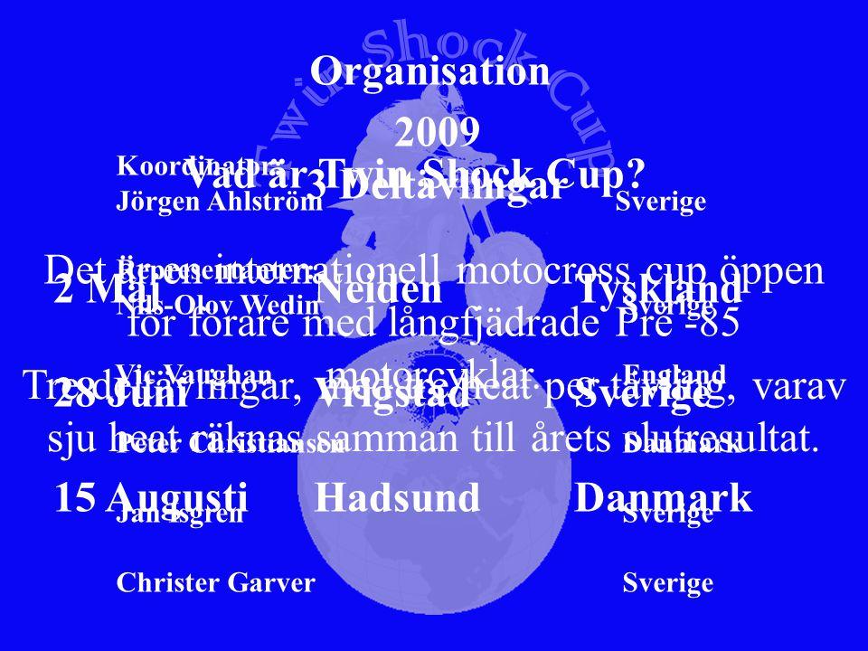 Svenska REGLEMENTE TWIN SHOCK CUP, TSC version 2009 ARTIKEL 1Motto Att bevara tävlingsmotorcyklar så original som det är möjligt och tävla med dem på ett sätt som är förenligt med tiden då de var nya.