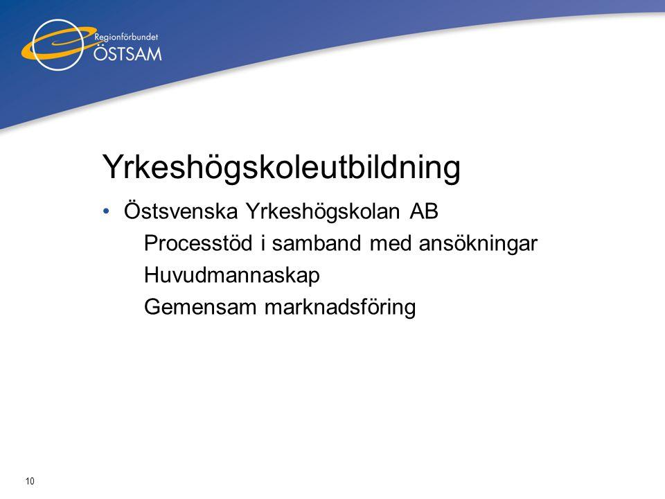 10 Yrkeshögskoleutbildning •Östsvenska Yrkeshögskolan AB Processtöd i samband med ansökningar Huvudmannaskap Gemensam marknadsföring