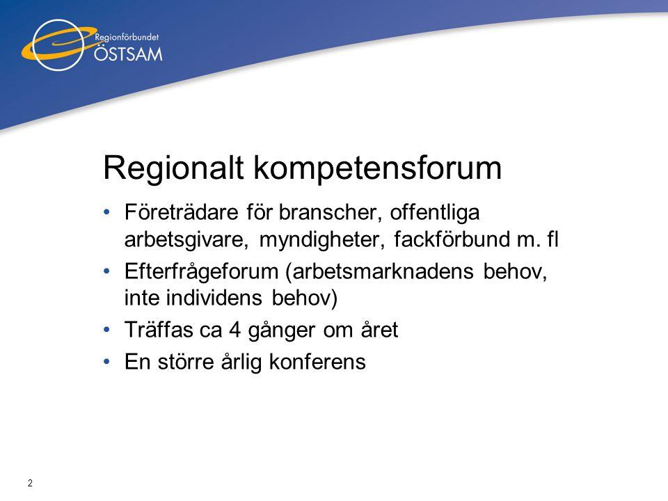 2 Regionalt kompetensforum •Företrädare för branscher, offentliga arbetsgivare, myndigheter, fackförbund m. fl •Efterfrågeforum (arbetsmarknadens beho