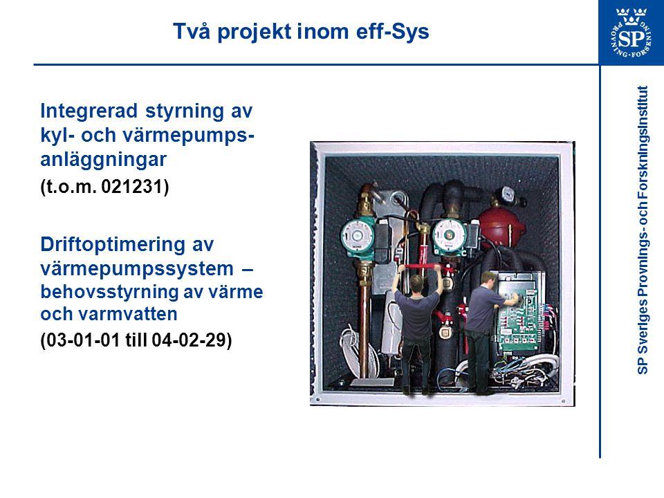 SP Sveriges Provnings- och Forskningsinstitut Bakgrund Optimal drift av värmepumpssystem kräver optimering av: –Värmekälla och värmesänka –Värmepumpens drift i förhållande till behovet –Värmepumpens interna drift Fas 1 Fas 2 Fas 3