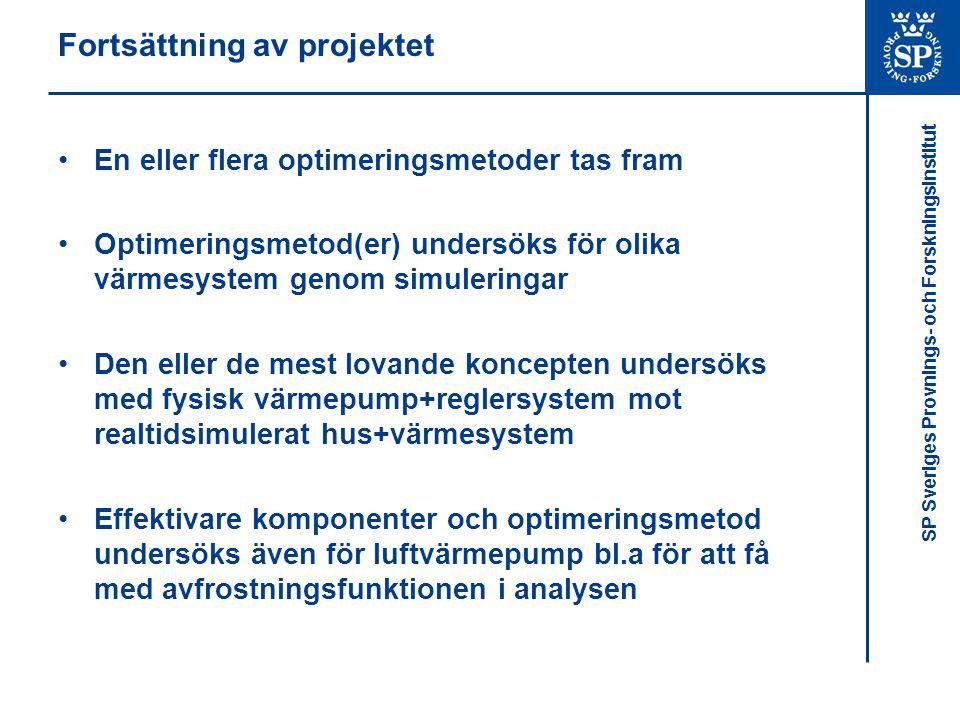 SP Sveriges Provnings- och Forskningsinstitut Fortsättning av projektet •En eller flera optimeringsmetoder tas fram •Optimeringsmetod(er) undersöks för olika värmesystem genom simuleringar •Den eller de mest lovande koncepten undersöks med fysisk värmepump+reglersystem mot realtidsimulerat hus+värmesystem •Effektivare komponenter och optimeringsmetod undersöks även för luftvärmepump bl.a för att få med avfrostningsfunktionen i analysen