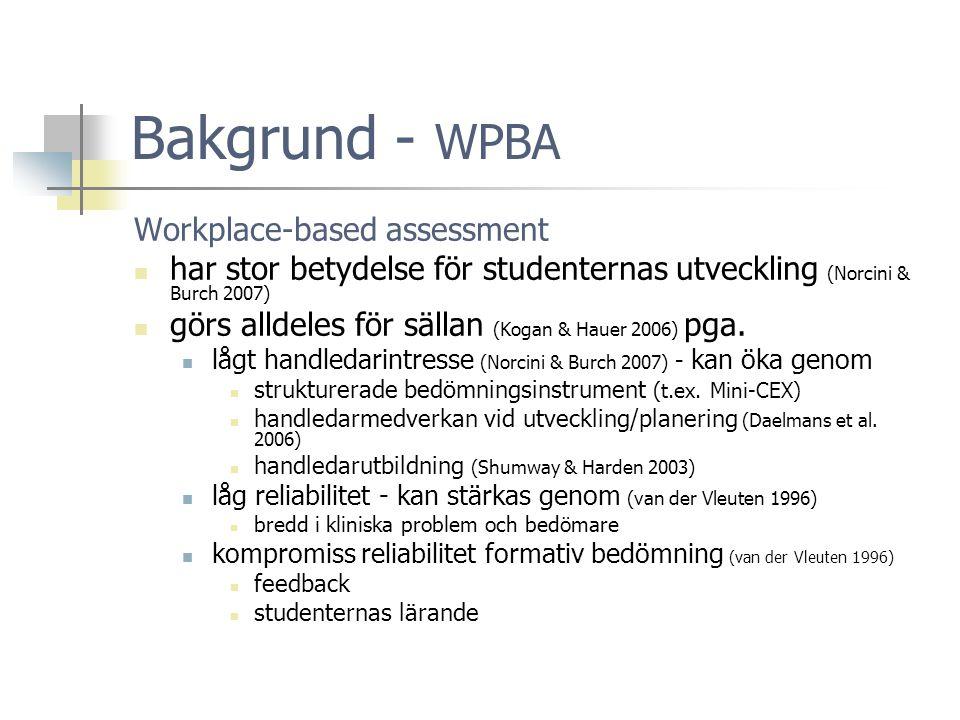 Bakgrund - WPBA Workplace-based assessment  har stor betydelse för studenternas utveckling (Norcini & Burch 2007)  görs alldeles för sällan (Kogan & Hauer 2006) pga.