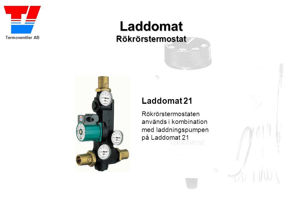 Termoventiler AB LaddomatRökrörstermostat Laddomat 21 Rökrörstermostaten används i kombination med laddningspumpen på Laddomat 21