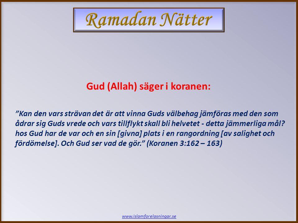 www.islamforelasningar.se Kan den vars strävan det är att vinna Guds välbehag jämföras med den som ådrar sig Guds vrede och vars tillflykt skall bli helvetet - detta jämmerliga mål.