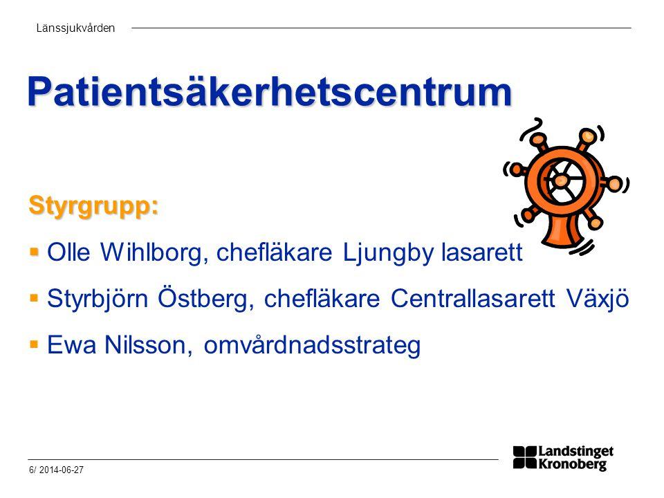 Länssjukvården 6/ 2014-06-27 Patientsäkerhetscentrum Styrgrupp:   Olle Wihlborg, chefläkare Ljungby lasarett  Styrbjörn Östberg, chefläkare Centrallasarett Växjö  Ewa Nilsson, omvårdnadsstrateg