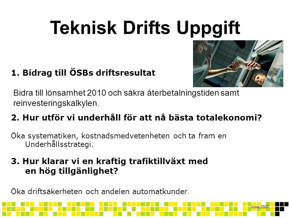 June 2007 1. Bidrag till ÖSBs driftsresultat Bidra till lönsamhet 2010 och säkra återbetalningstiden samt reinvesteringskalkylen. 2. Hur utför vi unde