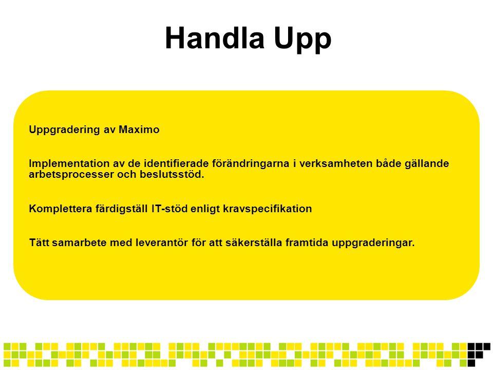 Handla Upp Uppgradering av Maximo Implementation av de identifierade förändringarna i verksamheten både gällande arbetsprocesser och beslutsstöd. Komp