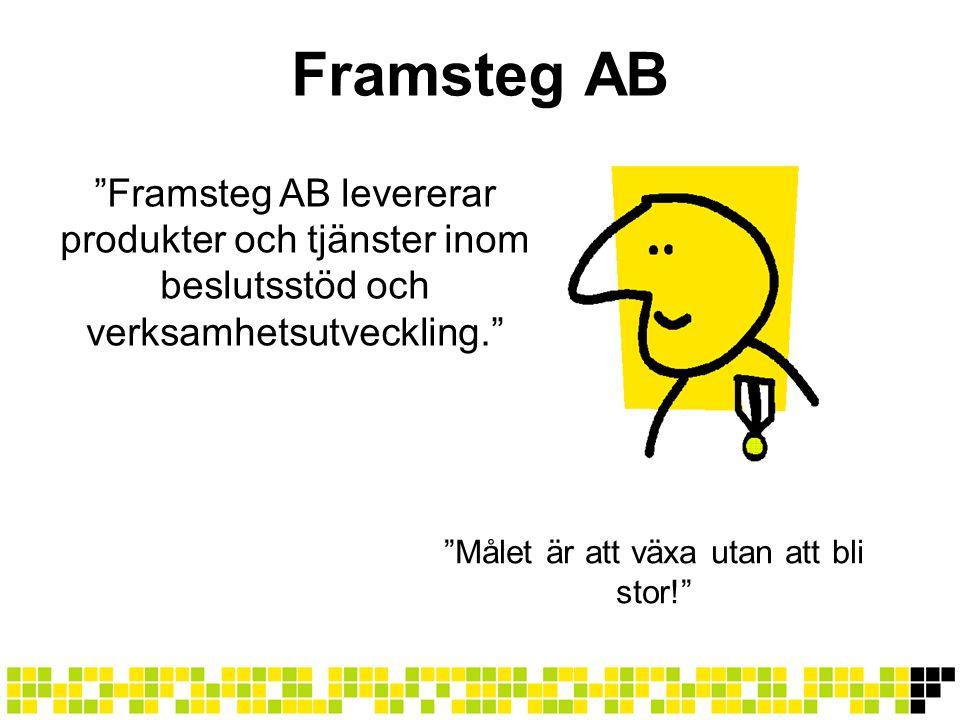"""Framsteg AB """"Framsteg AB levererar produkter och tjänster inom beslutsstöd och verksamhetsutveckling."""" """"Målet är att växa utan att bli stor!"""""""