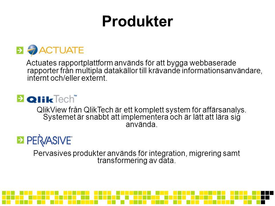 Produkter Actuates rapportplattform används för att bygga webbaserade rapporter från multipla datakällor till krävande informationsanvändare, internt